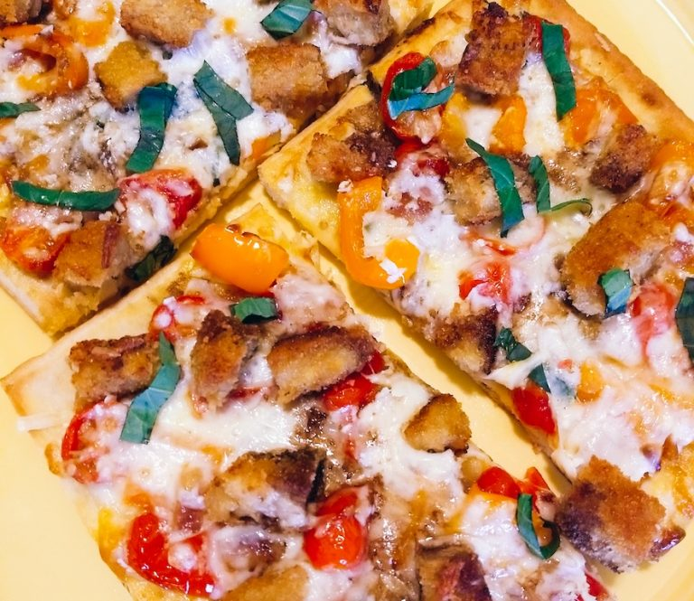 Caramelized Bell Pepper and Tomato Flatbread Pizza
