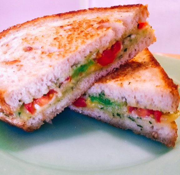 Cheese Melt with Grilled Avocado and Basil Spread