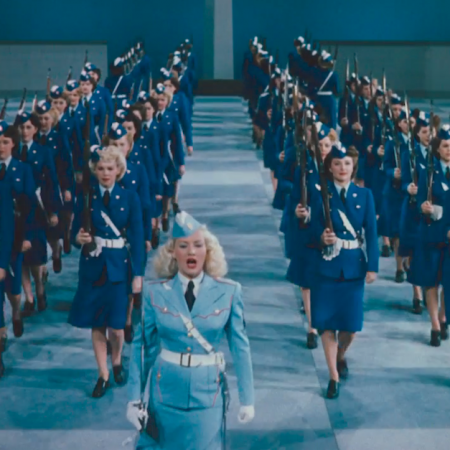Drill Sergeant Betty leads a platoon of chorus girls in a march at the end of the film that seems to never end...! Not the best finale, but Betty is still absolutely adorable. And the costume hid her now apparent baby bump pretty well!