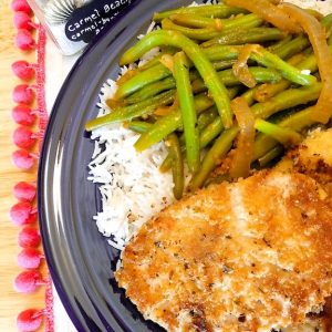 Seared Herb-Breaded Gardein with Green Beans