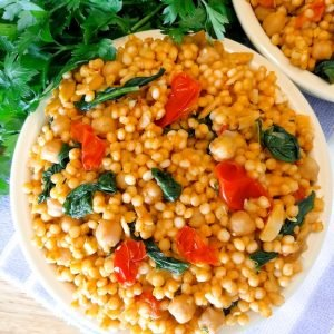 Loaded Israeli Couscous with Leek and Tomatoes