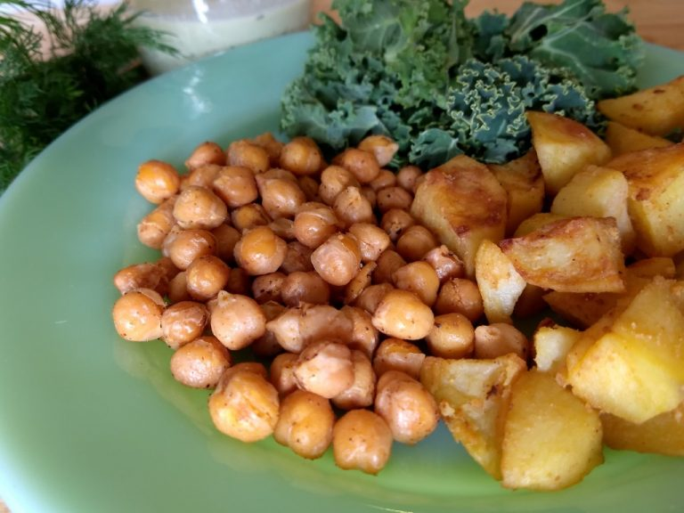 Roasted Potatoes with Fried Chickpeas and Herbed Cashew Yogurt Sauce