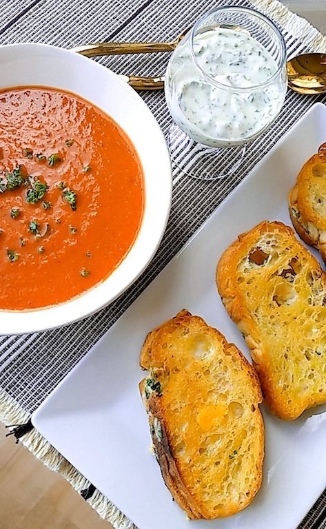Tomato Soup with Herbed Aioli Grilled Cheese